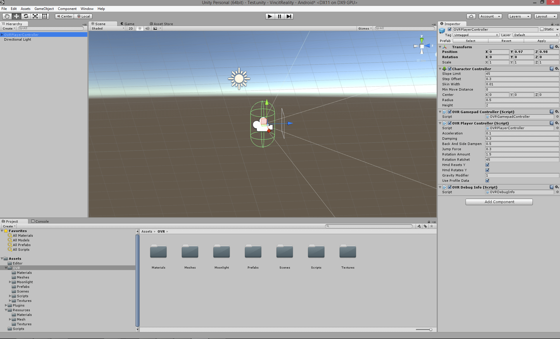 Unity editor view with Oculus components placed.