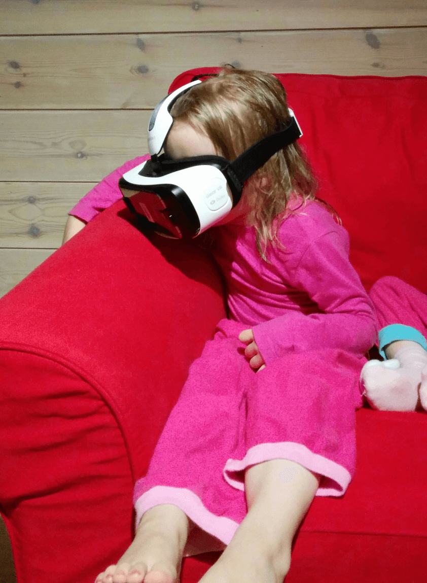 Next generation VR consumers watching a VR video of a helicopter journey over Iceland.