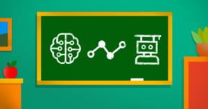 Chalkboard with images presenting data analytics, artificial intelligence, and machine learning