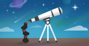 Duck watching the north star with telescope