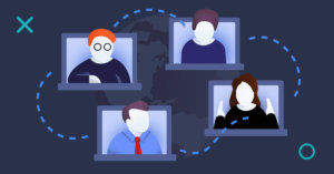 Image illustrating online panel discussion. There are 4 laptops and people meeting online